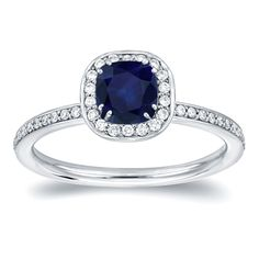 Auriya 14k Gold 3/4ct TDW Blue Sapphire and 1/3ct TDW Diamond Halo Ring (H-I, SI1-SI2) (Yellow Gold - Size 7), Women's