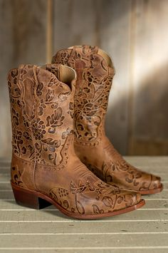 Women's Sonora Jessi Tooled Leather Cowboy Boots | Overland Sheepskin