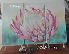 Large pink protea over 3 stretched canvases in acrylic. Mason Jar Crafts, Mason Jars, Wood Canvas, Wood Work, Canvases, Aloe, Purple, Pink, Vibrant