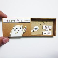 Happy birthday  Card Matchbox Gretting Card Gift box by JtranJ
