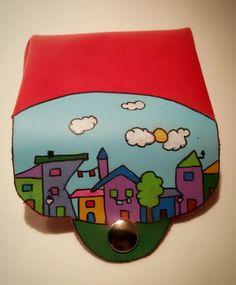 "Monedero modelo ""City"". Cuero pintado a mano. Handpainted leather coin purse, ""city"" model"