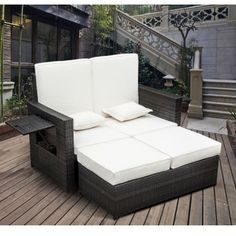 Garden Rattan Furniture Outdoor 2 Seater Sofa Sun Lounger; This patio daybed has a stylish and practical, space-saving design. The stools can be stored under the sofa. It is made of powder coated steel frame with polycoated rattan. Click to shop for yours.