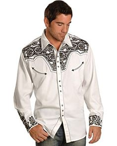 fb42342177 Scully Men s Pewter-Tone Embroidery Retro Western Shirt Big and Tall -  P634-Pew Review