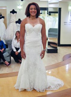 Season 7 Featured Dresses, Part 6. Elana. Dress info: Watters. Ivory. Lace. Fit and flare. Strapless with sweetheart neckline. Lace with beaded pattern throughout dress. Scalloped hemline. $2,738.00. #Weddings #SYTTD
