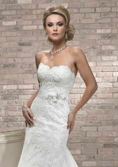 Alana - Bridal Gown - by Maggie Sottero (Shown with detachable Grosgrain Floral belt with Swarovski Crystal)