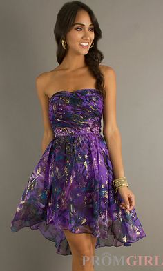Strapless Purple Print High Low Dress by Jump 954