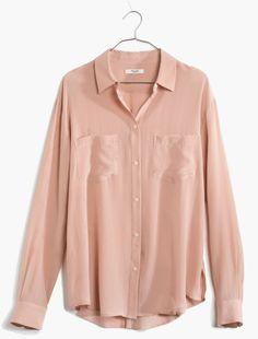 Madewell Silk Spotlight Shirt in Pink (wet boulder)