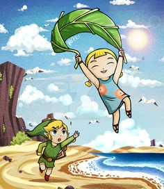 Link and Aryll, The Legend of Zelda: The Wind Waker artwork by Jack Lynkirk.