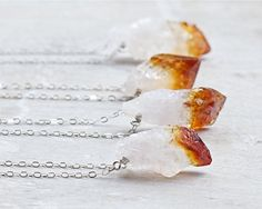 Raw gemstone jewelry: rough citrine stone and sterling silver necklace via Etsy