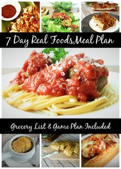 JACKPOT! 7 Day Meal Plan with grocery list and prep plans! Get REAL foods on the table this week! And unlike most meal plans, this utilizes similar ingredients to keep it economical. (Step by step instructions to prep in one day or prep as you go through the week and substitutions to make it even easier to get dinner on the table.)