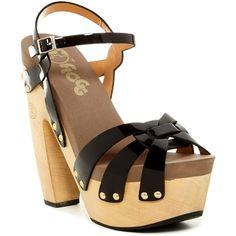 Flogg Rainbow Platform Sandal (£25) ❤ liked on Polyvore featuring shoes, sandals, black patent, black rainbow sandals, arch support sandals, black platform shoes, rainbow sandals and platform sandals