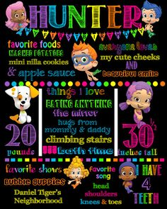 Colorful Bubble Guppies Birthday Chalkboard by KenzieJaneDesigns