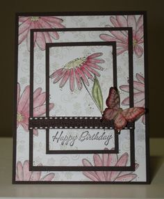 Romantic Flower and Butterfly birthday card made with Stampin'UP! stampset In Full Bloom and Boho Backgrounds