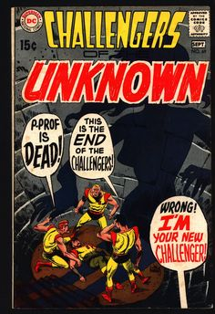 Challengers of the Unknown #69, Jack Kirby, Denny O'Neil, Jack Sparling, DC Comics, Ace Morgan, Rocky Davis, Red Ryan, Professor Hale, VG