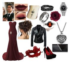 """""""Red Roses - Frankie & Damon @ Miss Mystic Falls"""" by controlled-insanity ❤ liked on Polyvore featuring LASplash, Bling Jewelry, Cesare Paciotti, Rolex, Accessorize and Masquerade"""