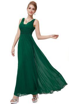 Pure Color Deep V-neck Backless Long Party Chiffon Dress Semi Formal Maxi  Dresses ff4c35a7d59a