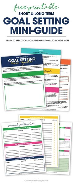 5 Steps to Creating Achievable Goals & Free Printable Worksheets - - Learn to create achievable short & long term goals with the free printable goal setting worksheets, used to create goals and set a timeline to achieve them. Goal Setting Template, Goals Template, Goal Setting Worksheet, Goals Printable, Free Printable Worksheets, Free Printables, Smart Goal Setting, Setting Goals, Goal Settings