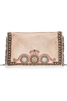 MATTHEW WILLIAMSON Beaded Fringe embellished metallic leather clutch
