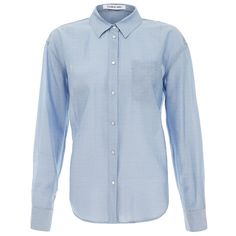 Elizabeth And James Carine Striped Cotton Shirt ($59) ❤ liked on Polyvore featuring tops, blue, blue top, long-sleeve shirt, blue long sleeve shirt, striped long sleeve top and striped shirt