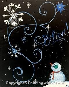 Paint nite pittsburgh bah humbug at roland 39 s seafood for Painting with a twist fenton mi