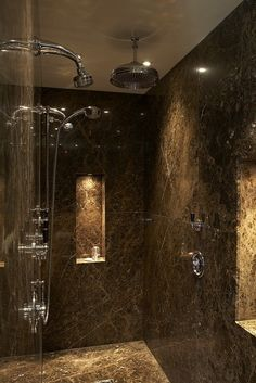 Emperador Marble Shower with Lefroy Brooks Brassware by Cotton Tree Interiors T: (+44)1728 604700