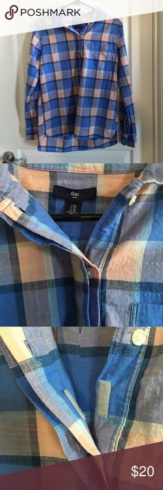 Gap Outlet Plaid Popover Shirt Size XS Lightweight, plaid popover shirt. Colors are blue and pink. Material is cotton. Has slight hi-lo hem. Buttons down halfway and also has Velcro on the placket to prevent gaping. From Spring 2016. Only worn a few times. No trades or Paypal. Gap Outlet Tops Button Down Shirts