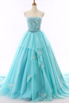 Strapless Tulle Blue Ball Gown Prom Dress, Appliques