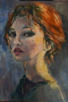 Buy Prints of Waiting (SOLD), a Oil on  by Hiromi Andrew from Australia. It portrays: People, relevant to: beauty, woman, portraite, expressionism, girl oil on canvas