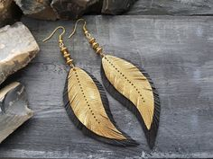 Gold feather earrings. Tribal earrings. Boho by VelmaJewelry