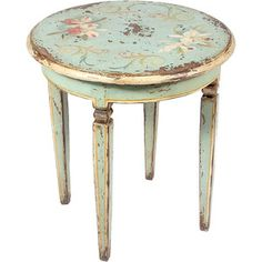 Distressed Floral End Table