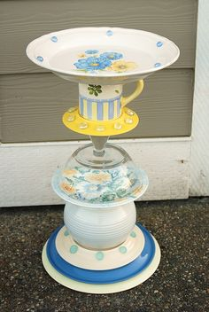 SOLD recycled glass, birdbath/feeder, hand made and designed by Karen Talbot