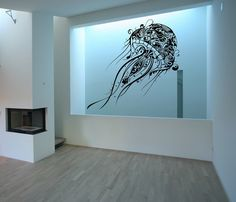 Abstract Jellyfish Vinyl Wall Decal - Extra Large Jellyfish 22085 This abstract jellyfish wall decal brings a feel of under the sea to your room and is full of details. This decal measures approx. Wall Stickers Murals, Wall Decal Sticker, Fish Decal, Wall Murals, Medusa, Living Room Vinyl, Beach Wall Decals, Nautical Wall Decor, Shops