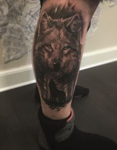 A wonderfully done wolf tattoo. Wolves could either be good or bad depending on who's viewing it and the tradition of the people. But usually, it's a sign of being strong and noble.