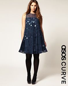 ASOS CURVE Swing Dress With Large Sequins - I'm obsessed with the giant sequins...