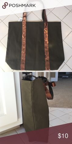 $4 Sequined olive green tote NWT. Will bundle with any order for $4.  Cute heavy canvas tote.  Green with bronze sequins on straps.  13.5 x 16 x 4 Bags Totes