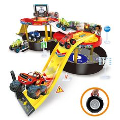 Cute Blaze and the Monster Machines Vehicles Cars Parking Lot Kids Children Toy #Unbranded