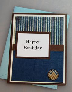 Happy Birthday - Masculine Handmade Birthday Card, Greeting Card for man or boy