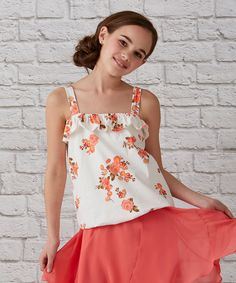 Look at this #zulilyfind! White & Coral Cabbage Rose Tank - Girls by Matilda Jane Clothing #zulilyfinds