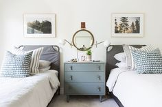 Love this calm neutral and sophisticated shared kids room.