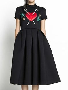 Shop Black Embroidery Heart Short Sleeve Pouf Dress from choies.com .Free shipping Worldwide.$41.99