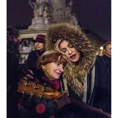 Agnès Varda and @Madonna on the Place de la République in Paris. Photo by JR. #Madonna #Madonnafans #París #RebelHeartTour #rebelheart