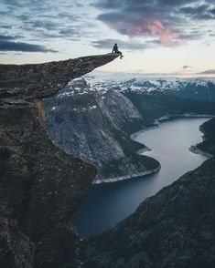 """Fearless selfie at Trolltunga. The hike to the famous """"Troll Tongue"""" was changeling but the view was worth it. Photo b Adventure Awaits, Adventure Travel, Places To Travel, Places To See, Beautiful World, Beautiful Places, Nature Photography, Travel Photography, Surfer Girls"""