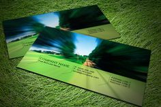 Get inspiration from this beautiful green illusion business card with 3D effect of road movement.