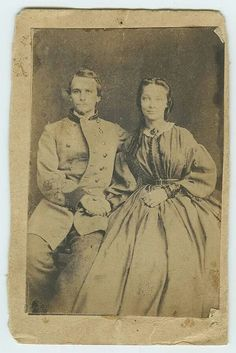 """Civil War Mystery Photo: Unidentified Confederate and LadyPhoto found on Pinterest with no identifying information, date, location, or direct source listed. Only info """"Lieutenant and young lady. Found in a box of old photos in a New Orleans Antique..."""
