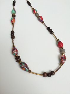 Long Wood Red Necklace - Red Agate Wood Necklace - Boho Hippy Necklace - Multi…