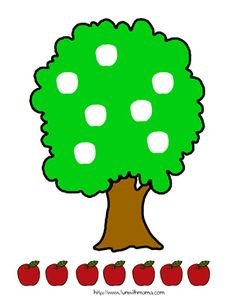Apple Tree Matching (Write numbers on apples and spaces on trees to match by number) Autumn/Fall/Apple Theme Color Worksheets For Preschool, Fall Preschool Activities, Apple Activities, Kindergarten Crafts, Motor Activities, Preschool Crafts, Toddler Activities, Crafts For Kids, Art For Kids