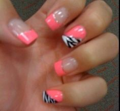 Pretty nails love the pink and zebra strips