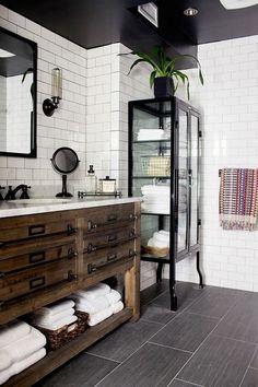 vintage industrial bathroom decor ideas wooden vanity unit glass cabinet subway tile