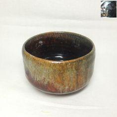 D192: Japanese KANKAKE pottery tea bowl with great glaze. By famous Koetsu Muroi