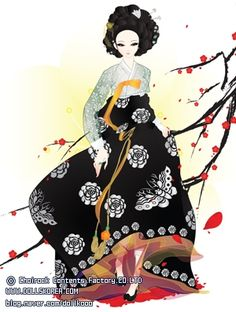 Ribenische Samurai in Hanbok Korean Hanbok, Korean Dress, Korean Outfits, Korean Traditional Dress, Traditional Dresses, Korean Art, Asian Art, Geisha, Art Magique